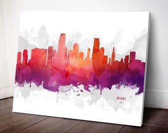 Miami Skyline Canvas,  Miami Print, Miami Art, Miami Gift, Miami Cityscape, MMR-USFLMI04C