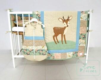 woodland nursery bedding, custom made to order, baby bedding, gender neutral baby bedding, gilr crib bedding,  bumper, sleeping bag,
