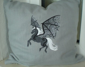 Halloween PEGAS pillowcase embroidered grey black fantasy 100% linen