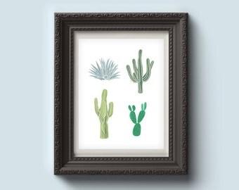 Cactus World, Cactus Print, Plant Illustration, Effortless, Digital Print, Instant Download