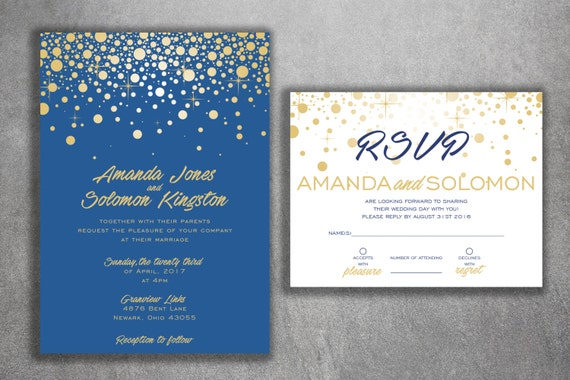 Blue and gold sparkle wedding invitations set printed cheap for Inexpensive glitter wedding invitations