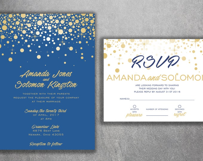 Wedding Invitation, Lights Wedding Invitation, Sparkly Glitter Wedding Invitation, Champagne, Snowflakes, BLUE and GOLD Invitation, Bubbles