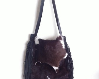 Brown white shoulder bag made of natural fur cow and leather, new unique handmade bag.