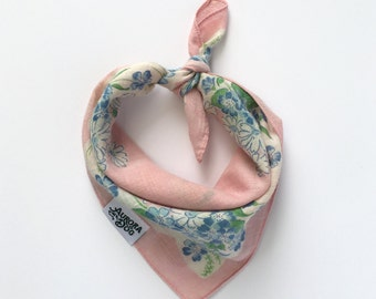 "Another Baby Pink and Blue Vintage Dog Bandana -- Fits up to a 10"" Neck"