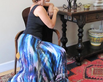 Flamenco Skirt, Painterly Patterned Rayon, for Practice and Performance
