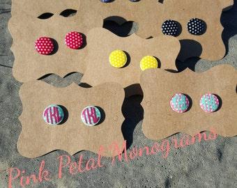 Monogrammed Poka Dot Stud earrings
