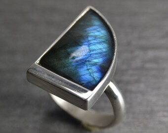 Blue Flash Labradorite Ring, Size 8.5, Sterling Silver, Handmade, Modern Ring Designed By Mark White Of JustMOD