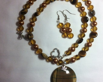 Brown Tiger's Eye Round Pendant Necklace with Earrings