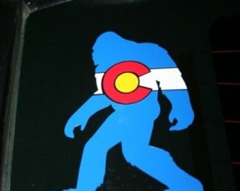 Colorado Flag Bigfoot die cut sticker