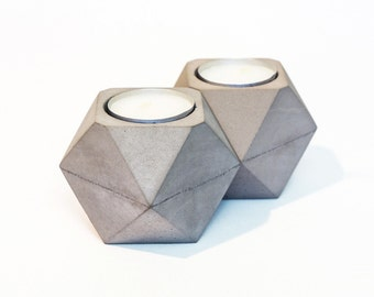 Concrete Candle Holder / Set of 2 / Geometric Candle / Concrete Decor