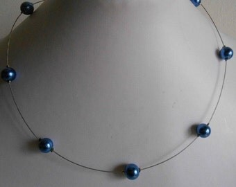 Marriage simplicity Necklace dark blue beads