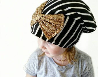 Beanie-  baby hat- big bow hat- black and white striped hat- baby beanie