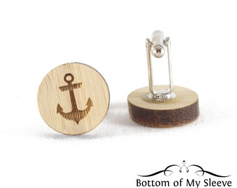 Wooden Laser Cut Anchor Cufflinks