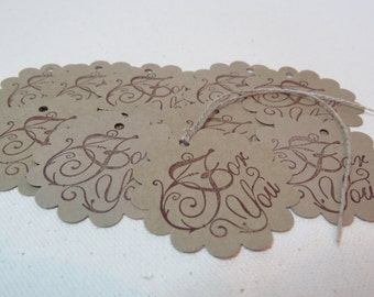 """Party Favor Tags, kraft tags, Paper Gift Tags, Wedding Tags, Shower Tags (24) """" Pour toi or For You"""" Many colours available."""