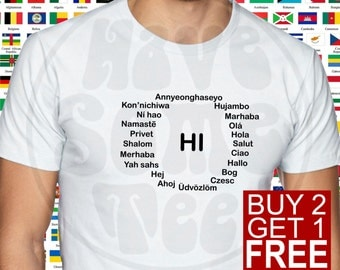 Hi in Many Languages Tshirt - International Party T-Shirt - Erasmus Shirt and other Humor Gifts by HaveSomeTee