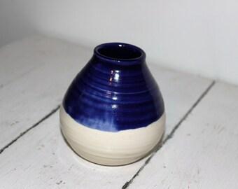 Handmade blue and white ceramic budvase