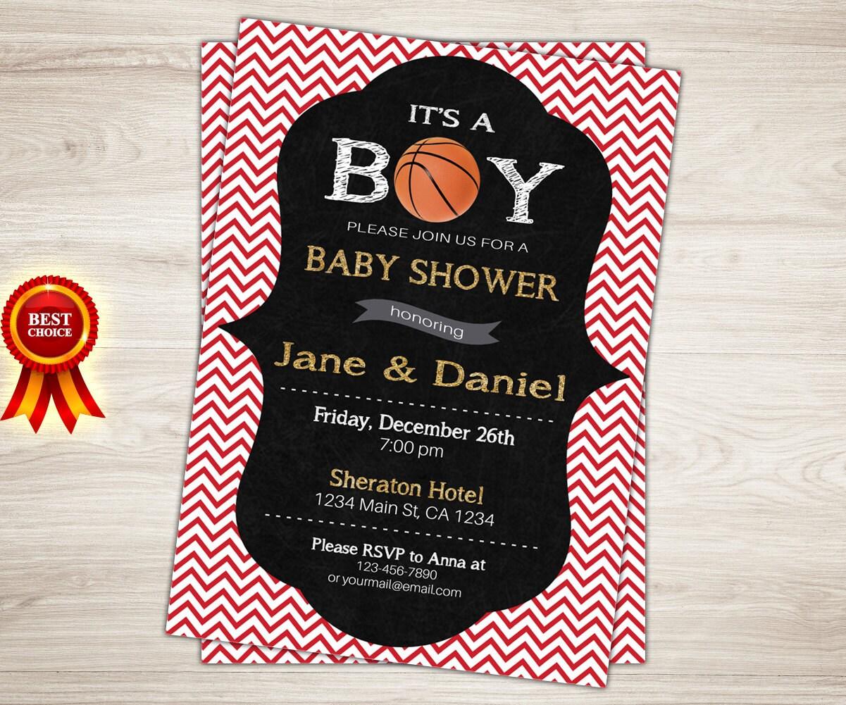 basketball baby shower invitation boy baby shower invitation