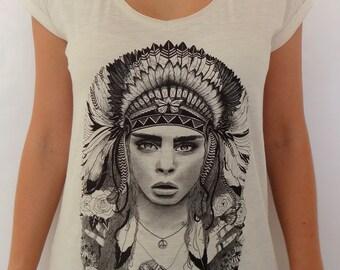 Organic modern design graphic t-shirt in vintage white