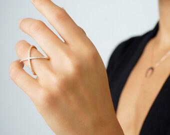 Gold criss cross ring - Cross X ring - Sterling silver criss cross ring - X cross ring - CZ criss cross ring - crisscross ring - X rings