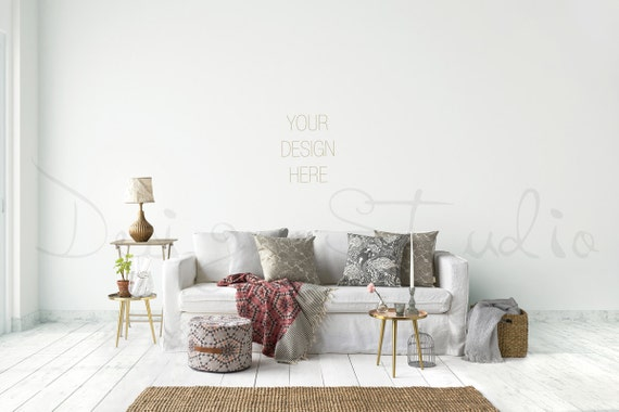 Styled stock photography living room blank wall photography for Four blank walls