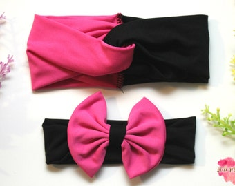 Black and Pink matching headbands