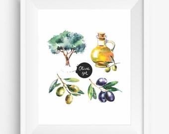 Fruit Olives, Olive Tree, Olive Oil,Colorful Watercolor Olive , hand drawn,digital prints,kitchen decor