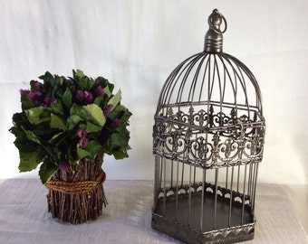 Rustic pewter birdcage, Wedding Card Holder, Shower Decor, Money Holder, Bird Cage Card Box