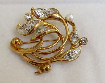 Vintage Gold/Silver tone Signed Movitex Lily, Pearl,  and Crystal Brooch Pin