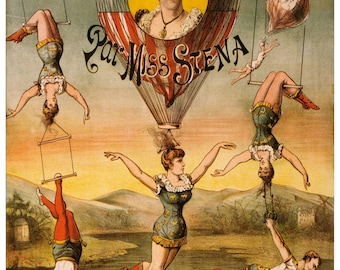 Vintage Miss Stena Circus Advertising Poster Print