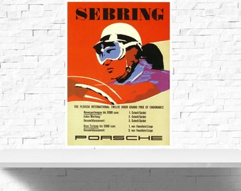 Vintage 1958 Porsche Sebring Motor Racing Poster Print