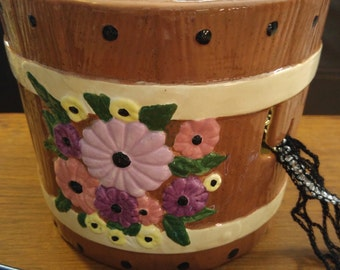 Garden Basket yarn bowl - Ceramic floral bowl, hand painted, fired and with J hook for your convenience.