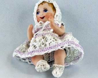 Miniature Antique Repro doll approx 6 cm