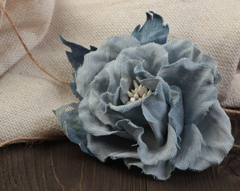 Stylish handmade blue denim fabric flower brooch hair clip