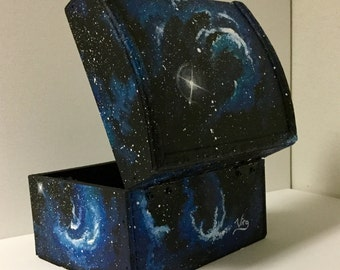 Galaxy box hand painted chest outerspace original art jewelry wooden keepsakebox coins candy misc. galaxies stars nebula space