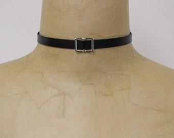 Handcraft simple black leather choker