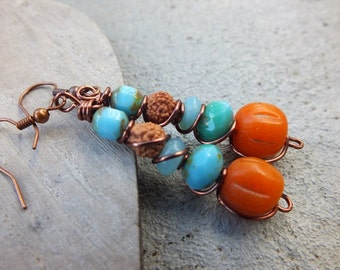 Boho earrings Orange Earrings Colorful earrings Pumpkin Earrings Gypsy African Earrings