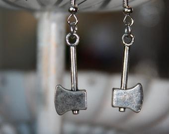 Axe Tool Dangle Silver Earrings