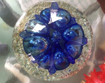Giant vintage paperweight vibrant blue flower. Weighs 7 pounds.