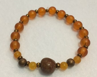 Orange Beaded Bracelet with Brown Stone