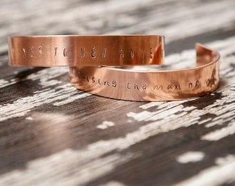 Personalized Hand-stamped Copper Jewelry, Women's Copper Cuff Bracelet, Rustic Copper Cuff, Gift under 20, Gift for Mom, Gift for her