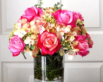 Faux Floral Arrangement-Real Touch Roses-Flower Arrangement-Silk Flowers in Home Decor--Fake flowers