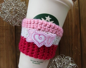 I Heart You Crochet Coffee Cozy! Travel Cup Coffee Sleeve Coozie Birthday Gift Say I Love You Cosy Striped Coffee Cozy