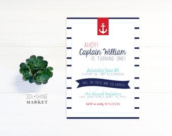 Nautical Boy Birthday Invitation Printable