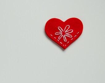 CLEARANCE - Handmade Felt Heart Corner Bookmark, Red, Pink