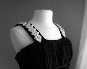 Rhinestone Formal Chiffon with Imperial waist dress, great  plus size style