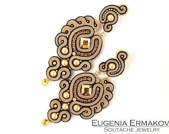 Long soutache earrings with Swarovski crystals Stud earrings Soutache jewelry Beige Black gold soutache earrings Chandelier earrings