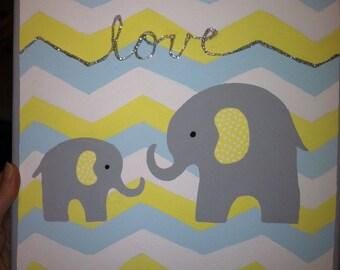 Elephant nursery painting