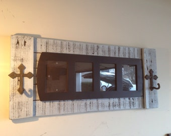 Rustic Picture Frame with Cross Hooks