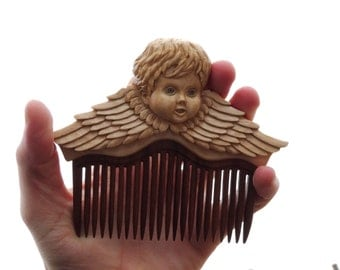 "Wooden comb hair ""Angel"", Hair accessories of wood, Wooden comb, Wooden hair comb, Wood hair comb, Wood comb, Hair comb wood, Wood carving."