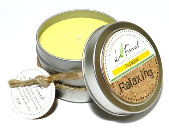 Free Shipping->Aroma Scented Tin Handmade Soy Candle: Jasmine (Relaxing & Romantic)